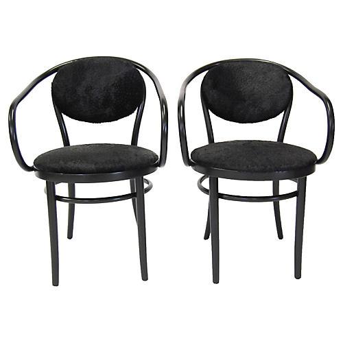 Thonet Chairs w/ Cowhide, Pair