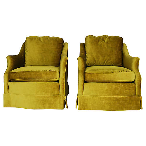 Henredon Velvet Chairs, Pair