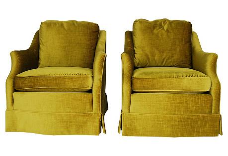 Henredon Velvet Chairs, Pair