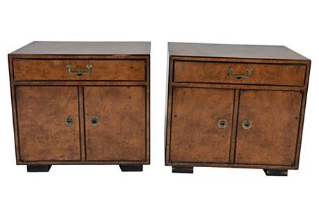 Widdicomb Burled Cabinets, Pair