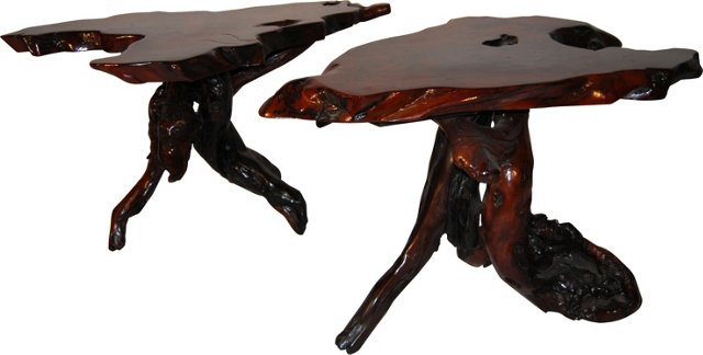Burled Tables, Pair