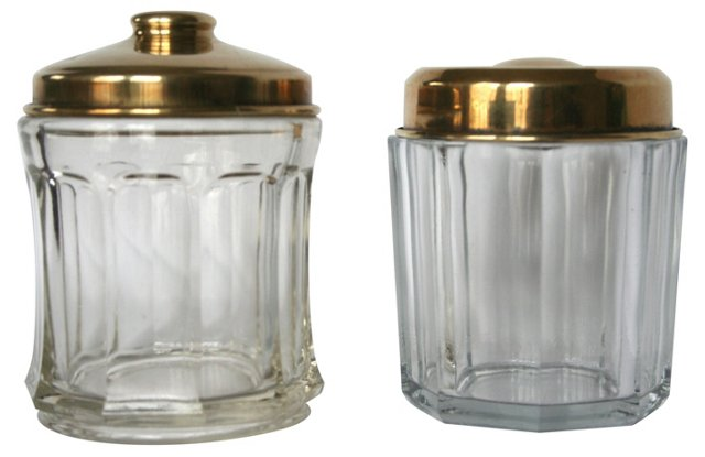 Vanity Jars w/ Brass Tops, Pair