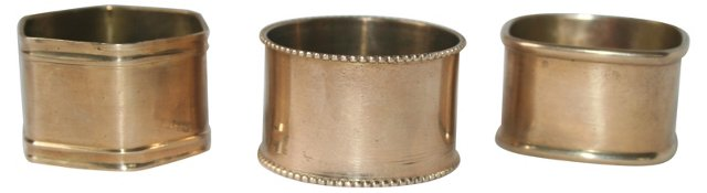 One of a KindBrass Napkin Rings,Set of 3