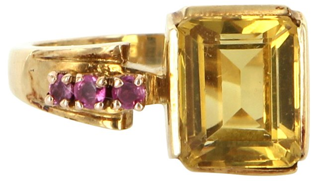 Citrine & Ruby Cocktail Ring