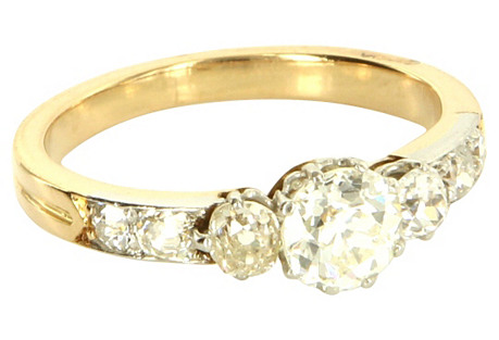 Art Deco Platinum & Gold Diamond Ring