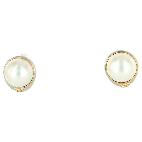 Mabe Pearl & Diamond Earrings