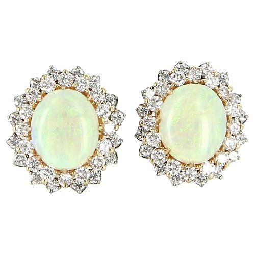 Opal & Diamond Clip Earrings