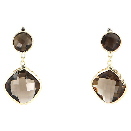 Smoky-Quartz Drop Earrings