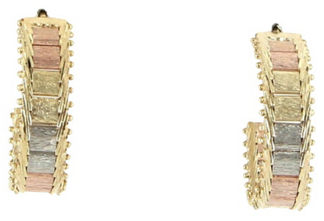 Triple-Tone 14K Gold Hoop Earrings