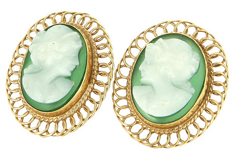Agate Cameo Cocktail Earrings