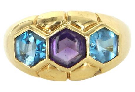 Amethyst & Blue Topaz Ring