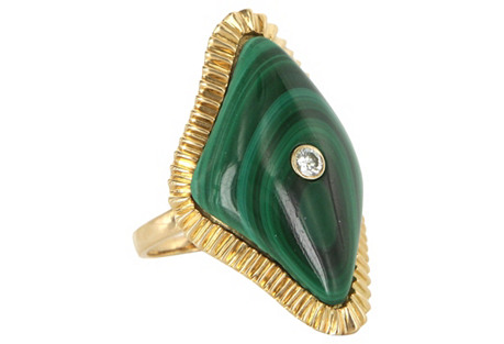 Malachite & Diamond Cocktail Ring