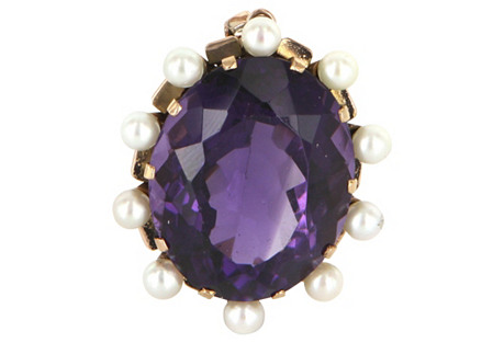 Large Amethyst & Cultured Pearl Pendant