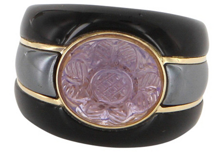 Ming's Carved Amethyst Onyx Ring