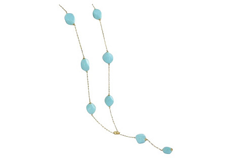 18K Gold & Turquoise Drop Necklace
