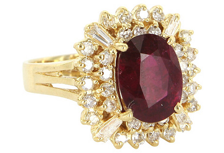 Pink Tourmaline & Diamond Princess Ring