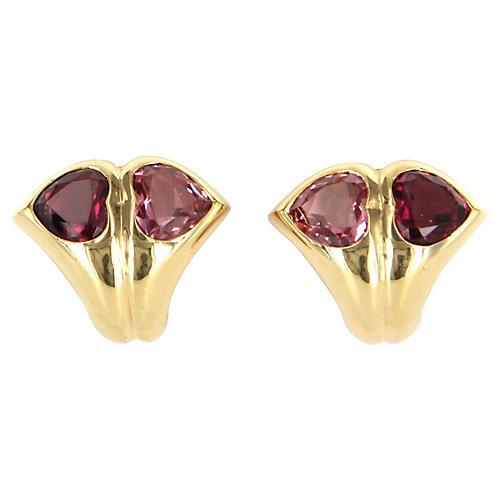 Bulgari Pink Tourmaline Heart Earrings