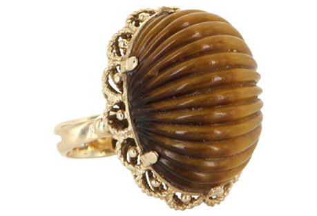 Fluted-Tigers Eye Dome Ring