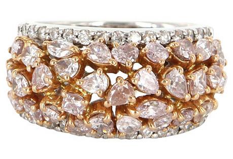 18K White Gold & Pink Diamond Ring