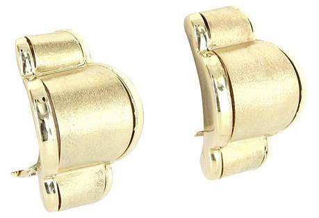 Satin Finish 14K Gold Shrimp Earrings