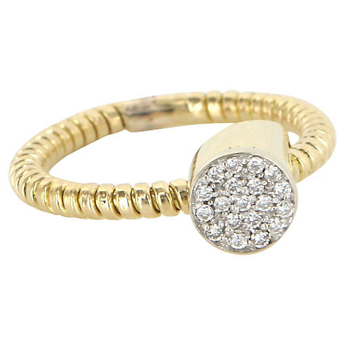 Retro Pavé Diamond 14K Cocktail Ring