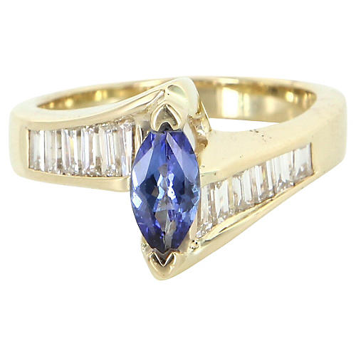 Tanzanite Diamond 14K Gold Ring