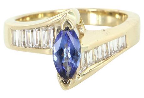 Tanzanite Diamond 14K Gold Ring