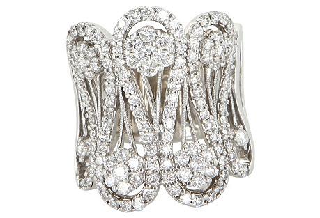 Wide 14K White Gold & Diamond Cigar Ring