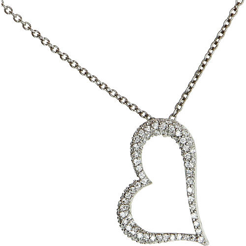Platinum Pavé Diamond Heart Necklace
