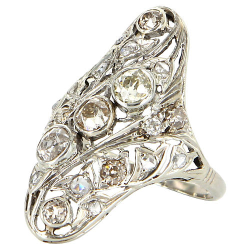 Art Deco Diamond Filigree Cocktail Ring