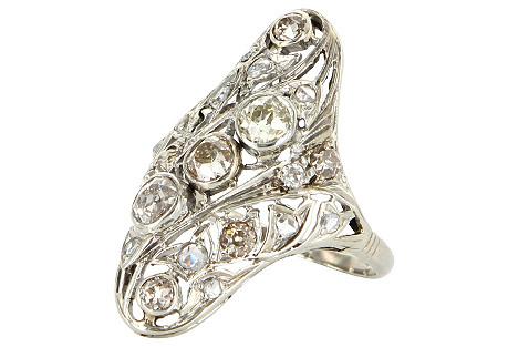 Art Deco Diamond Filigree Cocktail Ring