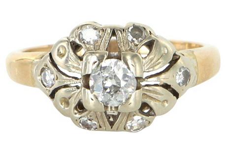 Two-Tone 14K Gold & Diamond Ring