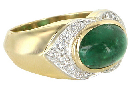 Natural Emerald Diamond East West Ring