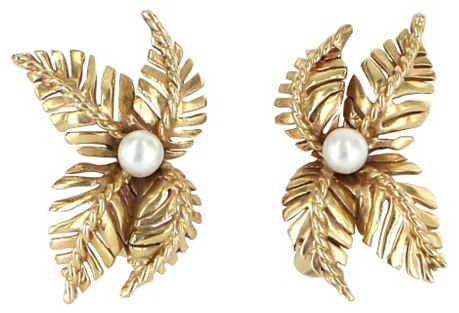 14K Gold & Cultured Pearl Leaf Earrings