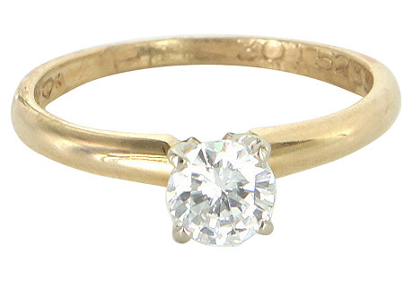 14K Gold & Solitaire Diamond Ring