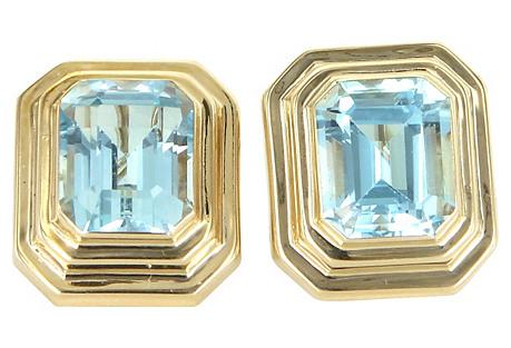 14K Gold & Blue Topaz Earrings