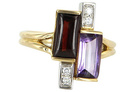 Amethyst, Garnet & Diamond Cocktail Ring