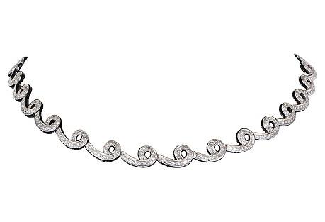 18K White Gold & Diamond Swirl Necklace