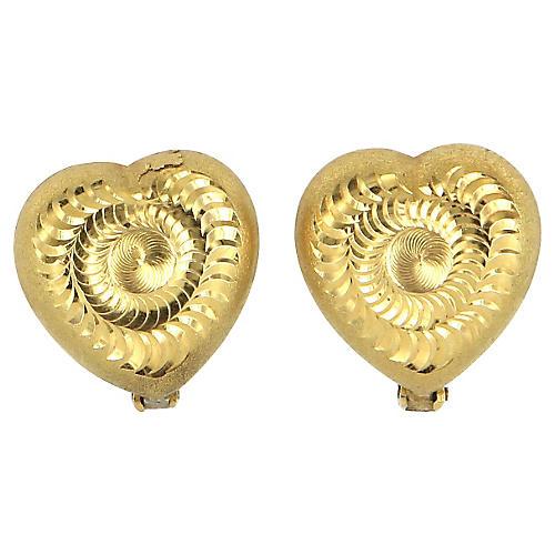 Textured Heart Swirl Earrings 18k Gold