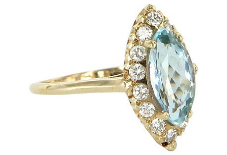 Marquise Aquamarine Diamond Ring