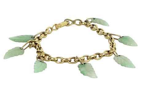 Jade Leaf Charm Bracelet 14k Gold