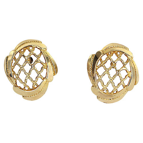 14K Gold Basket Weave Earrings