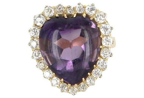 Amethyst Diamond Heart Ring