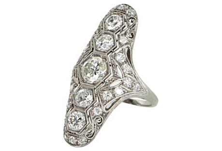 Art Deco Diamond Navette Ring