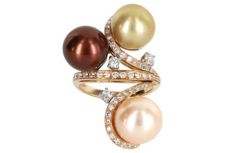 Cultured South Sea Pearl Diamond Ring