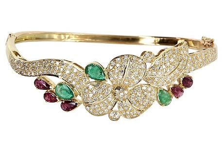 Diamond Flower Bangle Bracelet