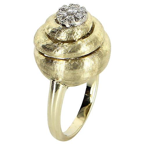 Diamond Swirl Cocktail Ring