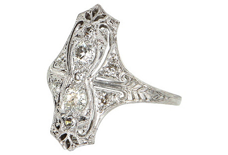 Deco Platinum & Diamond Dinner Ring