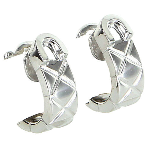 Chanel 18K White Gold Matelassé Earrings