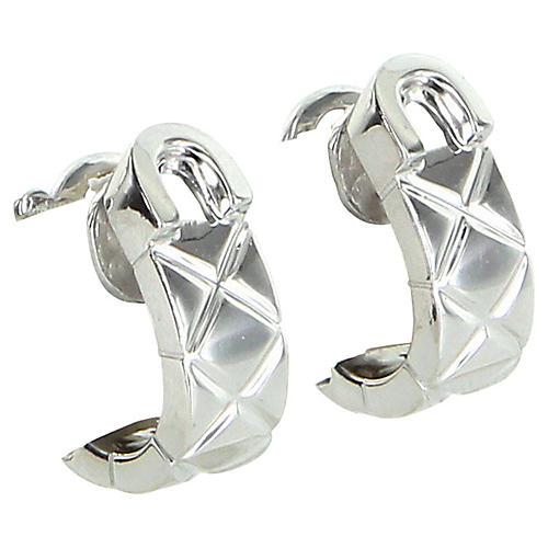 Chanel 18K White Gold Matelassé Earrings